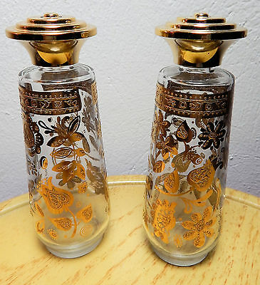 Pair of Beautiful Vintage Gold Accent Shakers - Old Estate Find - Free Shipping