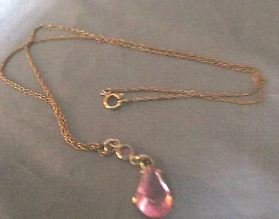 """BEAUTIFUL/DAINTY SMALL PINK DOUBLE STONE PENDANT GOLD TONE NECKLACE 9"""" CHAIN"""