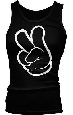 White Outline Cartoon Hand Peace Sign Love Respect Swag Hoodie Pullover