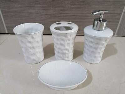 4Pc Ceramic Bathroom Accessory Set Soap Dish Dispenser Toothbrush Holder