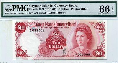 Cayman Islands, Qe2, P3,1971 (1972), $10, Pmg 66-Epq (Gem Unc)