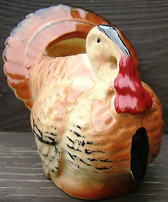 Thanksgiving Day Turkey Ceramic Planter Tabletop Centerpiece Vintage 1950s 1960s