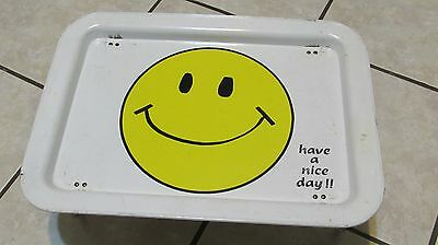 Vintage HAVE A NICE DAY SMILEY FACE TV BED BREAKFAST TRAY FOLD OUT LEGS 17 X 12