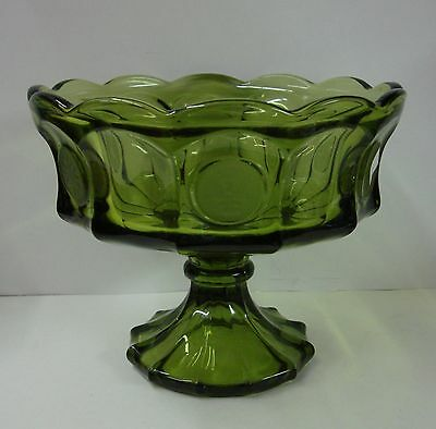 Fostoria Crystal COIN GLASS-OLIVE GREEN Large Compote Bowl