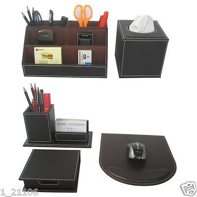 5pcs/set Brown Business wooden and leather desktop stationery organizer box sets