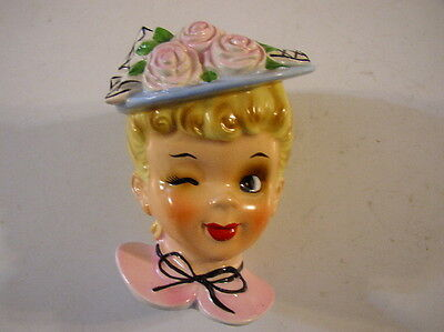 NAPCO INARCO ENESCO HEAD VASE RARE BLUE HAT WITH FLOWERS PINK DRESS NO CHIPS VG