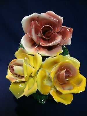 Vintage Capodimonte Three Rose Bouquet Basket for Table or Wall, Italy