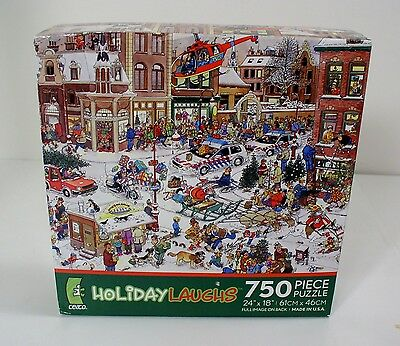 Holiday Laughs Jan Van Haasteren Christmas Jigsaw Puzzle 750 pieces Ceaco