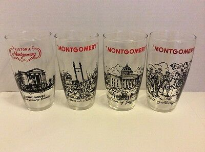 Vintage Set Of Four Historic Montgomery Alabama Glass Tumblers
