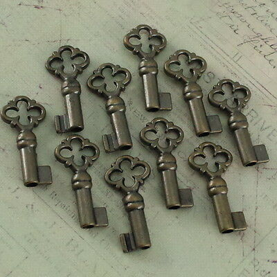 Old Antique Vintage Style Keys Skeleton Open Barrel Keys Antique Brass (10 pcs)
