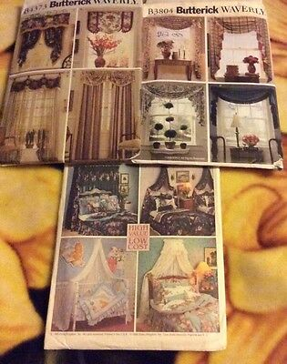 Lot of 3 Curtain Valance Canopies sewing patterns butterick simplicity uncut