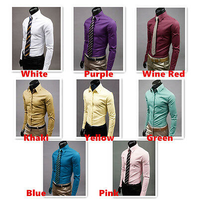 Fashion Men's Fit Long Sleeve Shirt Casual Slim Fit Shirts High Quality CTSHI27