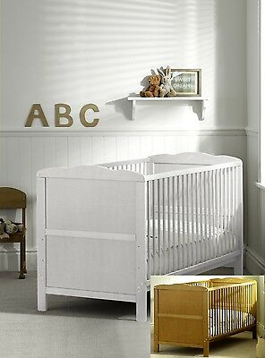 White or Pine Cot Bed 140x70 or 120x60cm Cotbed  Mattress,Convertable
