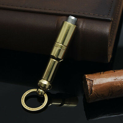 LUBINSKI Pure Copper Stainless Steel Cigar Punch With Key Ring