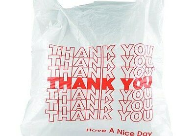 200ct Large 1/6 Thank You T-shirt Plastic Grocery Shopping Bags With Handle/