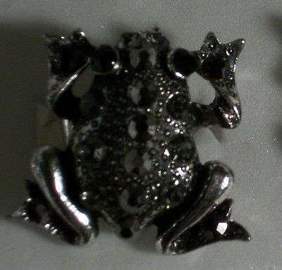 Hematite Crystal Silver Frog Ring