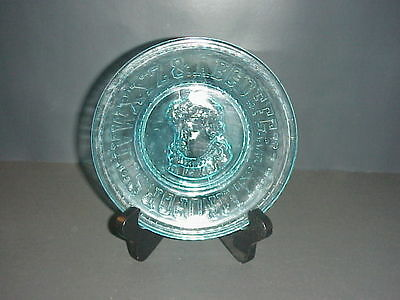 Bryce Higbee Blue Glass Boy Emma ABC Alphabet Plate EAPG #531 C.1893