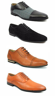 Men's Black Cognac Dress Shoes Cap Toe Lace Up Oxfords Leather Lining Joey AZAR