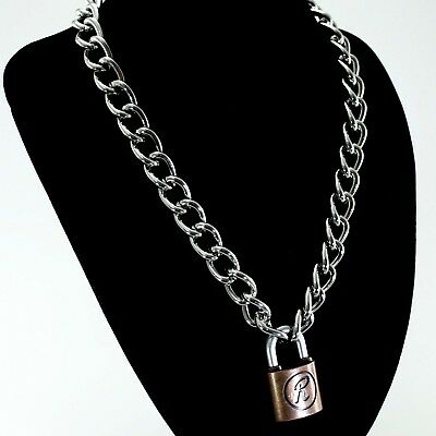 Padlock Lock R Pendant Charm Sex Pistol Rabbit Punk  Choker Chain Necklace 19.5""
