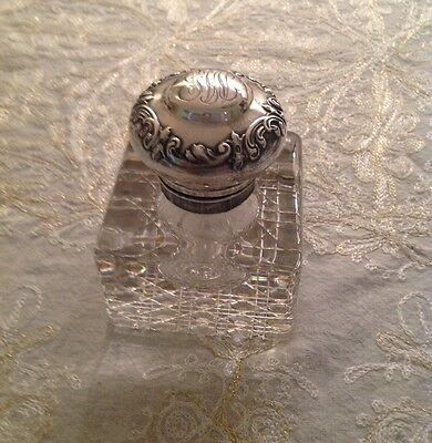 J. Hoare American Brilliant Cut Glass Gorham Sterling Silver Inkwell