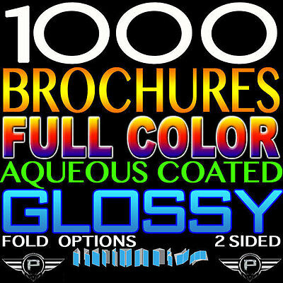 """1000 Brochure 8.5"""" X 14"""" Full Color 2 Sided 100Lb Glossy Folded Personlized"""