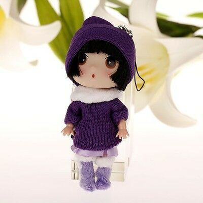 Lovely Purple Hat Korea Ddung Doll Cell Phone Backpack Keychain Gift 12CM A27