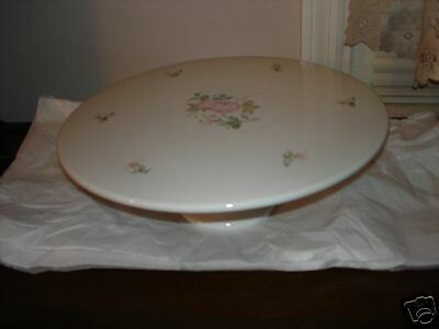Gorham Lady Anne China Pink Roses Pedestal Cake Stand / Platter New