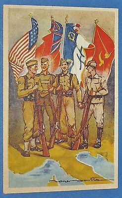 Rare Cpa Carte Postale 1944 Liberation France Europe Usa Gb Urss Allies Ffl