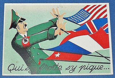 Rare Cpa Carte Postale 1944 Satirique Caricature Hitler Face Aux Allies