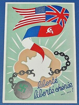 Rare Cpa Carte Postale 1944 Liberation France Allies Usa Urss Gb