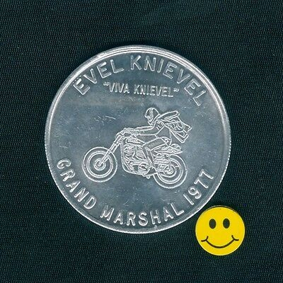EVEL KNIEVEL - Grand Marshal Scarce Old Bikers Doubloon Token 1977