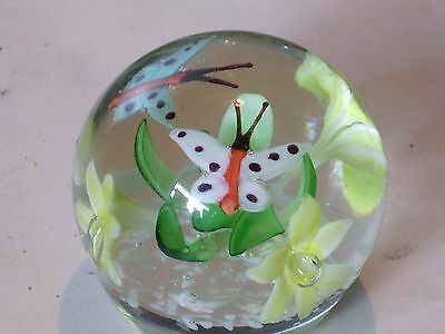 GLASS PAPERWEIGHT FLOWERS AND BUTTERFLIES 2.5 INCH