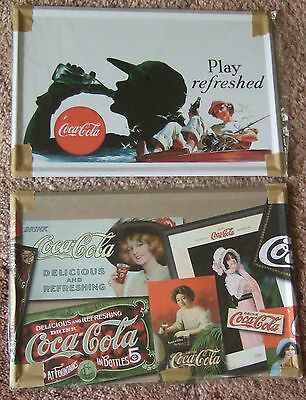 **COCA COLA COKE==2 METAL SIGNS==BRAND NEW==GUYS SHADOW & COLLAGE PICS==