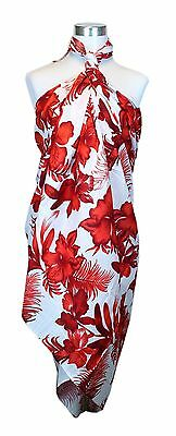 Jumbo Plus Size Tropical Cruise Beach Luau Sarong Wrap Dress Feather Solid RED