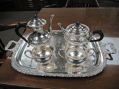 VINTAGE HAND CHASED SILVERPLATE ON COPPER TEA & COFFEE SET # 1711 ~ B.M. MOUNTS