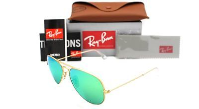 New Authentic Ray-Ban 3025 112/P9 Matte Gold / Green Mirror Lens POLARIZED  58mm