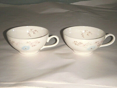 "TAYLORTON TST VINTAGE PAIR JOHN GILKES ECHO DELL COFFEE TEA 2"" CUPS BLUE FLORAL"