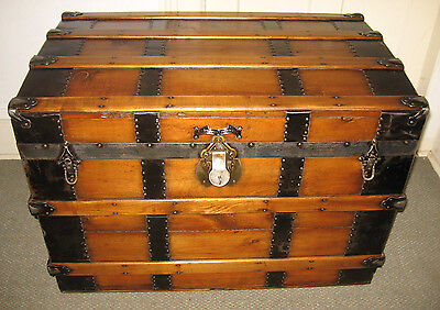 ANTIQUE STEAMER TRUNK VINTAGE VICTORIAN FLAT TOP LARGE WOODEN 1880S TRAVEL CHEST