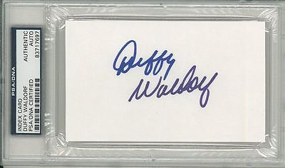 Duffy Waldorf Signed Autographed 3x5 Index Card Slabbed PSA/DNA #83717697