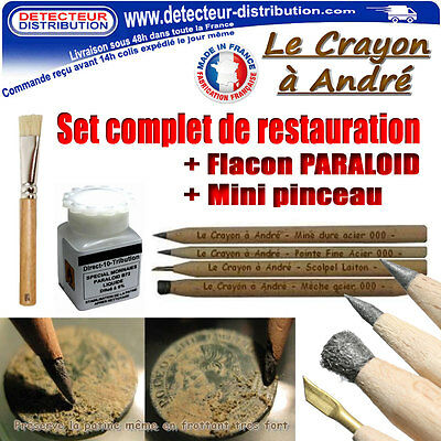 Set complet nettoyage monnaies - 4 crayons grattoirs + Paraloid + Pinceau