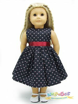 """Doll Clothes fits 18"""" American Girl Handmade Black Small Pattern Summer Dress"""