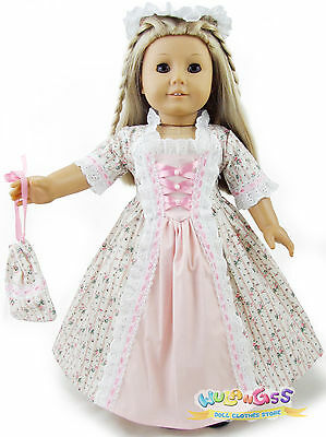 Doll Clothes fits 18'' American Girl Handmade Colonial Dress/Gown