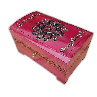 Wooden Large Jewellery Chest In Burgundy Color Lock And Key