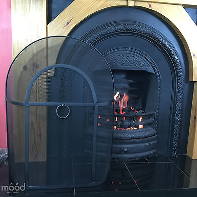 "Arch Screen Spark Fire Guard for Round Lombard Curve Top Fireplace 28"" x 21"" V2"