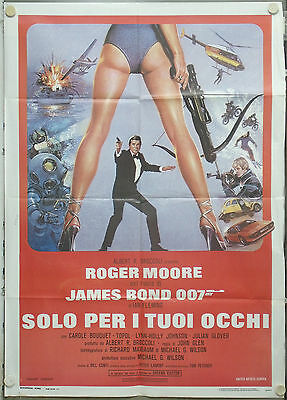 RD44D FOR YOUR EYES ONLY JAMES BOND 007 ROGER MOORE GREAT ORIG 2sh POSTER ITALY