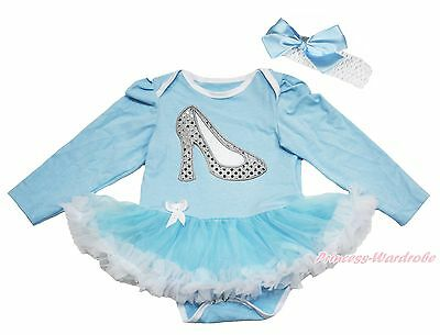 Bling Cinderella Slipper Blue L/S Bodysuit Skirt Girl Baby Dress Costume NB-18M