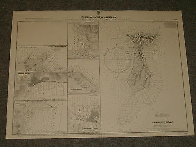 Vintage Admiralty Chart 844 PORTS IN THE SEA OF MARMARA 1921 edition