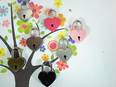 Small Antique Vintage Style Assorted Color  Mini Padlocks with Keys (Lot of 7)