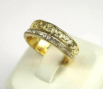 R+5423 Handmade 18 clear white Rhinestone band ring yellow gold tone Sz 8.75