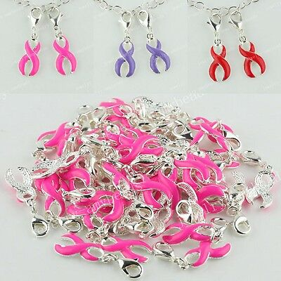 2Pcs Pink Purple Red Breast Cancer Awareness Ribbon Lobster Silver Pendant Beads